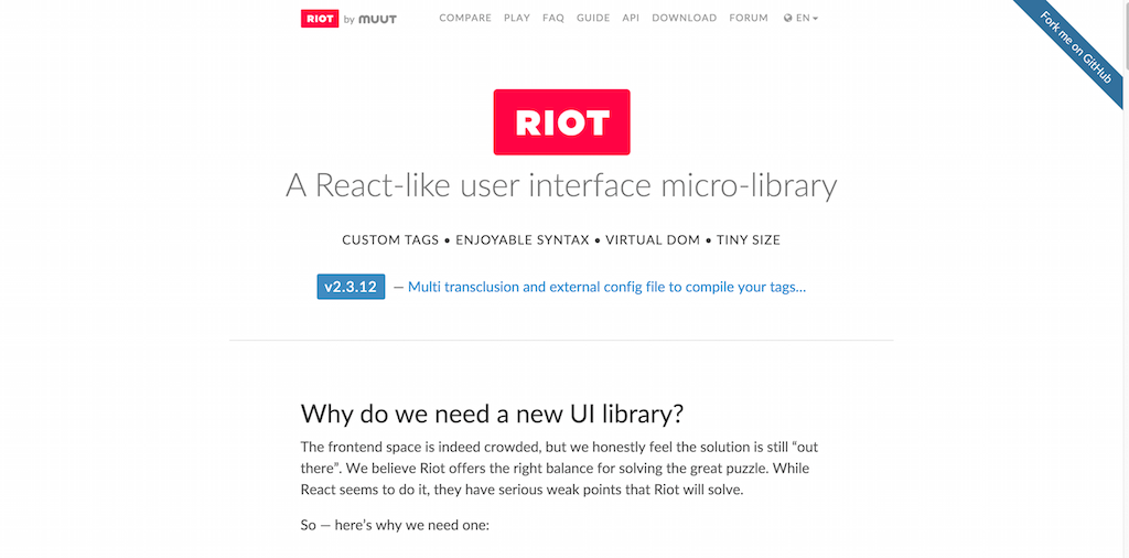 Riot.js — A React like user interface micro library
