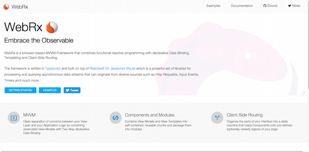 WebRx The Browser based MVVM Framework for ReactiveX powered Single Page Applications